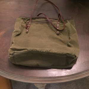 J Crew canvas and leather tote